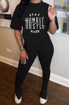 Black Women Printing Fashion Short Sleeve Round Neck Split Pants Sets AYQ0501-3