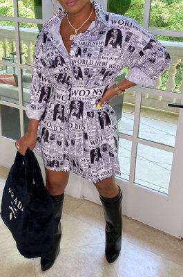 Newspaper Trendy Casual Button Long Sleeve T Shirt/Shirt Dress YBS86719-2