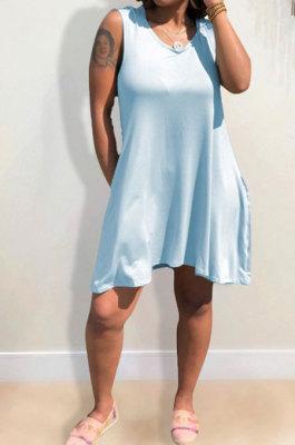 Light Blue Hooded U Neck Solid Color Sleeveless Trendy Mini Dress AYQ0507-1