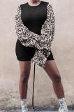 Black Leopard Printing Spliced Round Collar Horn Sleeve Drawsting Sexy Hip Dress HMR6026-3