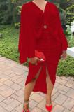 White Hollow Out V Collar Batwing Sleeve Zipper Drawsting Dress JC7067-1
