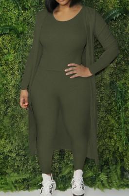 Army Green Cotton Blend Tank Cardigan Long Pants Elastic Three Piece YYF8236-4