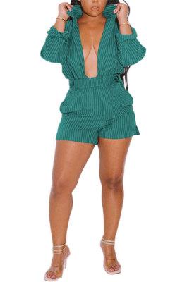 Cyan Women Long Sleeve Strap Printing Shirt Shorts Sets AD0705-2