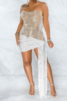 Apricot Strapless Milk Silk Hot Drilling Sequins Hip Mini Dress YF9150-2