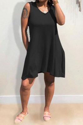 Black Hooded U Neck Solid Color Sleeveless Trendy Mini Dress AYQ0507-3