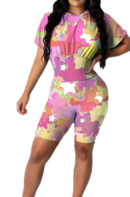 Colorful Cute Stars Printing Collect Waist Round Neck Short Sleeve Tight Shorts Two-Piece HMR6020-2