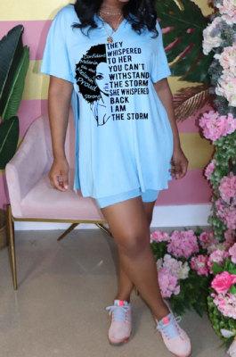 Light Blue Fashion Printing Split Blouse Short Sleeve Casual Shorts Sets AYQ0509-1
