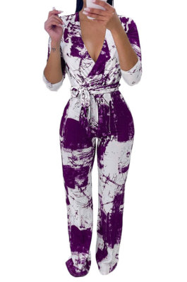 Purple Women Printing With Waistband Long Sleeve Bodycon Casual Jumpsuits AD0706-2