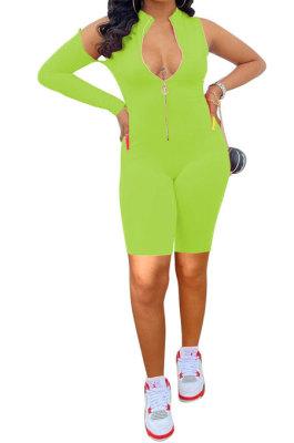 Light Green Euramerican Women Zipper Off Shoulder Single Sleeve Solid Color Romper Shorts AYQ0506-3