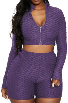Purple Euramerican Women Bodycon Pure Color Long Sleeve Casual Yoga Sport Shorts Sets SN390110-4