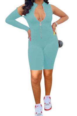 Sky Blue Euramerican Women Zipper Off Shoulder Single Sleeve Solid Color Romper Shorts AYQ0506-2