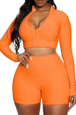Orange Euramerican Women Bodycon Pure Color Long Sleeve Casual Yoga Sport Shorts Sets SN390110-5