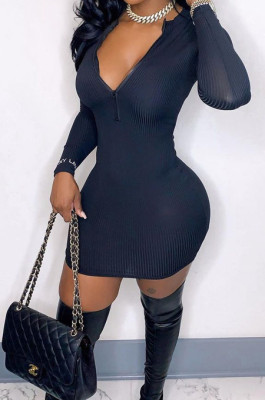 Black Ribber Square Neck Long Sleeve Embroidery Zipper Sexy Hip Dress HH8983-4