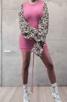 Rose Pink Leopard Printing Spliced Round Collar Horn Sleeve Drawsting Sexy Hip Dress HMR6026-2