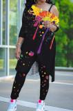 Black Splash-Ink Print Oblique Shoulder Long Sleeve Carrot Pants Sports Two-Piece LY049-2