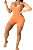 Orange Super Elastic Yoga Cloth Sexy Backless Off Shoulder Romper Shorts AYQ0505-1