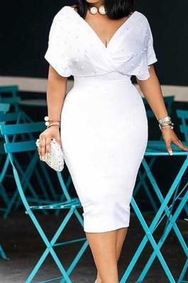White New Night Club Short Sleeve V Neck Beaded Zip Back Bodycon Dress HH8825-1