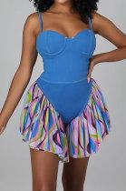 Blue Fashion Shorts Tight Condole Belt Romper Shorts YF9170