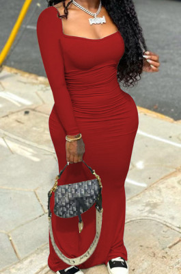 Red Elastic Solid Color Square Neck Long Sleeve Ruffle Bodycon Dress YYF8237-2