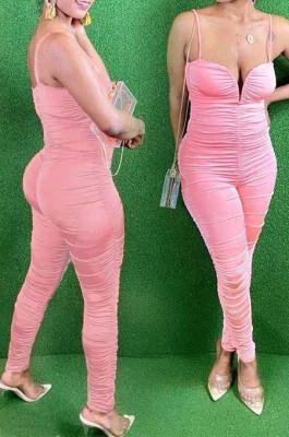 Pink Night Club Condole Belt Low Cut Solid Colur Bodycon Jumpsuits HMR6015-4