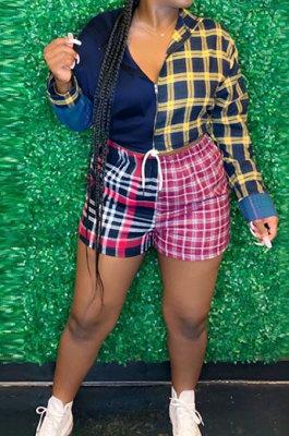 Color Matching Women Casual Shirt Plaid Shorts Sets GLS8118