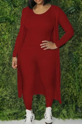 Red Cotton Blend Tank Cardigan Long Pants Elastic Three Piece YYF8236-5