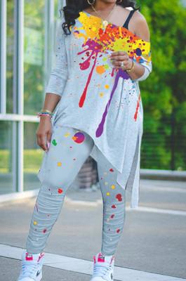 Grey Splash-Ink Print Oblique Shoulder Long Sleeve Carrot Pants Sports Two-Piece LY049-4