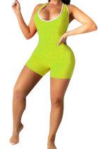 Light Green Super Elastic Yoga Cloth Sexy Backless Off Shoulder Romper Shorts AYQ0505-3