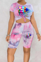 Pink Blue Tie Dye Lip Printing Short Sleeve Round Collar Shorts Two-Piece HMR6016-2