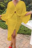 Yellow Hollow Out V Collar Batwing Sleeve Zipper Drawsting Dress JC7067-4