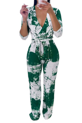 Green Women Printing With Waistband Long Sleeve Bodycon Casual Jumpsuits AD0706-3