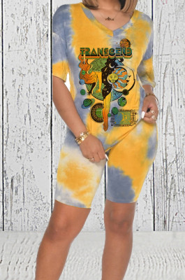 Yellow Casual Printing V Neck Short Sleeve T-Shirt Shorts Two-Piece HMR6018-2