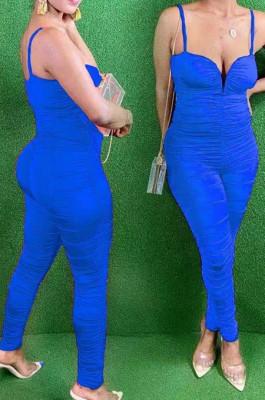 Blue Night Club Condole Belt Low Cut Solid Colur Bodycon Jumpsuits HMR6015-5