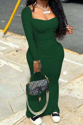 Blackish Green Elastic Solid Color Square Neck Long Sleeve Ruffle Bodycon Dress YYF8237-3