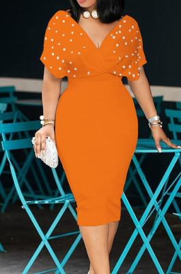 Orange New Night Club Short Sleeve V Neck Beaded Zip Back Bodycon Dress HH8825-5