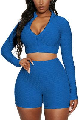 Blue Euramerican Women Bodycon Pure Color Long Sleeve Casual Yoga Sport Shorts Sets SN390110-8