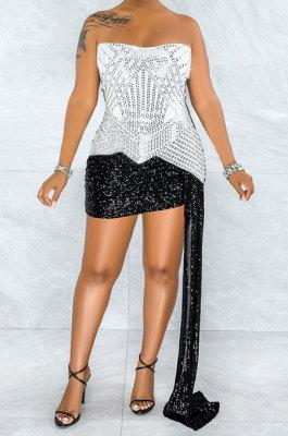 White Strapless Milk Silk Hot Drilling Sequins Hip Mini Dress YF9150-1