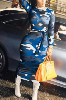 Blue Camouflage Cotton Blend Long Sleeve Round Collar Belt Long Dress YG10833-2