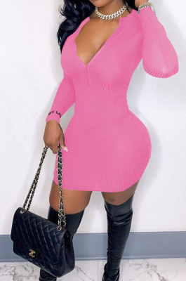 Pink Ribber Square Neck Long Sleeve Embroidery Zipper Sexy Hip Dress HH8983-2
