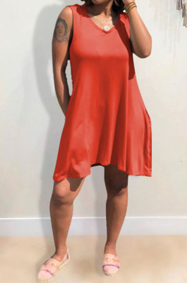 Wine Red Hooded U Neck Solid Color Sleeveless Trendy Mini Dress AYQ0507-2