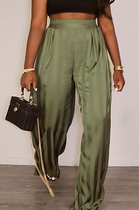 Green Satin Face Stripe Loose Straight Leg Pants JC7065-1