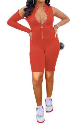 Orange Red Euramerican Women Zipper Off Shoulder Single Sleeve Solid Color Romper Shorts AYQ0506-1