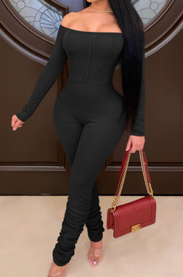 Black Sexy Long Sleeve A Word Shoulder Solid Color Bodycon Jumpsuits E8511-3