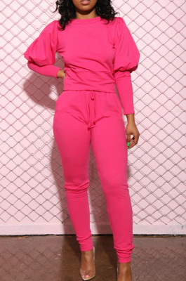 Pink Casual Round Collar Puff Sleeve T-Shirt With Pocket Tied Pencil Pants Sports Sets SMD82078-2