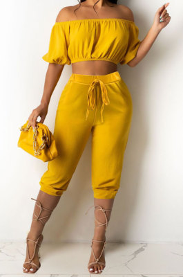 Yellow Euramerican Women Sexy Off Shoulder Dew Belly Blouse Pure Color Cropped Pants Sets AYQ0510-1