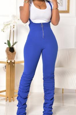 Blue Summer Cotton Blend Pure Color Tight Zipper Ruffle Suspender Trousers E8528-4