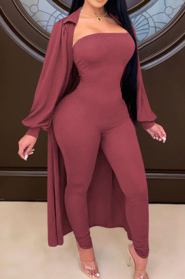 Wind Red Autumn And Winter Long Sleeve Coat Strapless Solid Colur Bodycon Jumpsuits Two Piece E8508-3