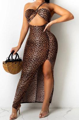 Brown Leopard Fashion Digital Printing Strapless Bandage Hollow Out Split Long Dress XZ5236-1