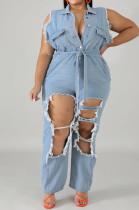 Light Blue Lapel Neck Sleeveless Water Washing Hole Jean Plus Jumpsuits QZ6109