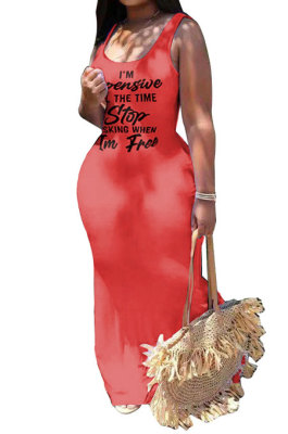 Red Sexy Women Sleeveless Letters Printing Condole Belt Plus Long Dress DLY8022-4
